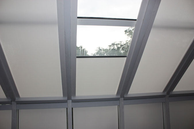 Flat and honeycomb skylight shades motorized and manual for Motorized skylight blinds shades