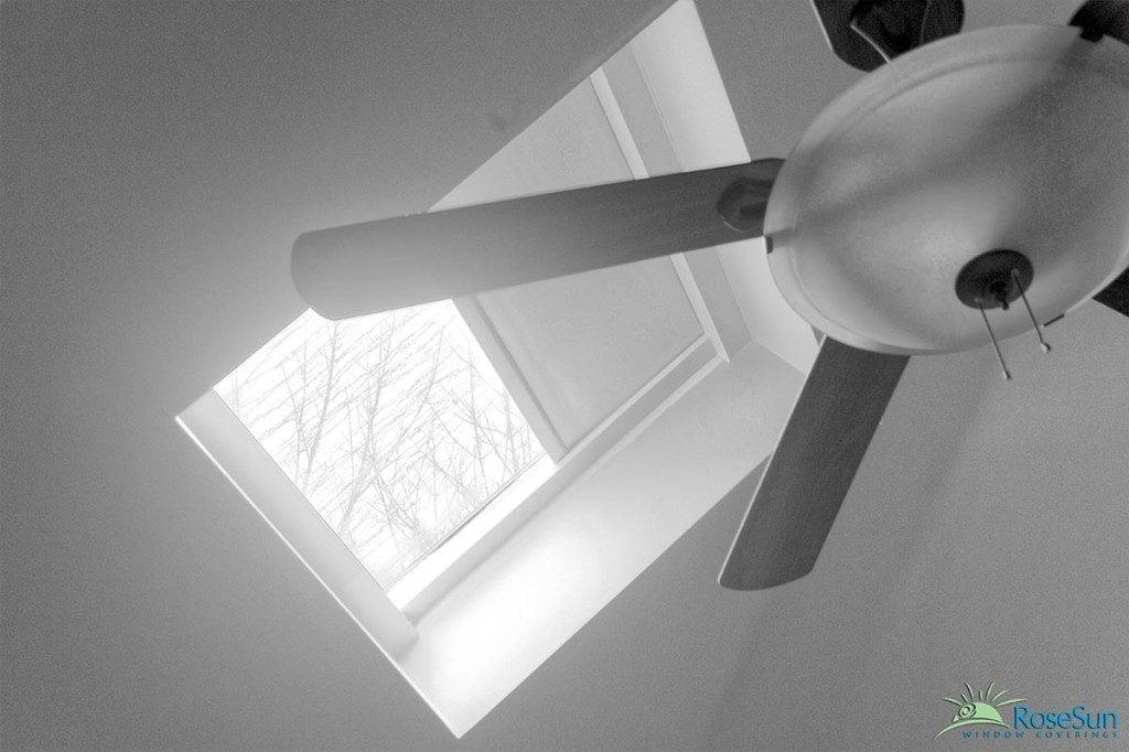 image of a motorized skylight blind by Rose Sun Motor